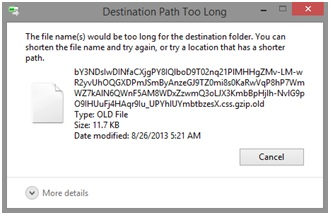 destination path too long